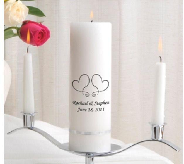 Personalized Hearts Design Premier White Wedding Unity Candle Set