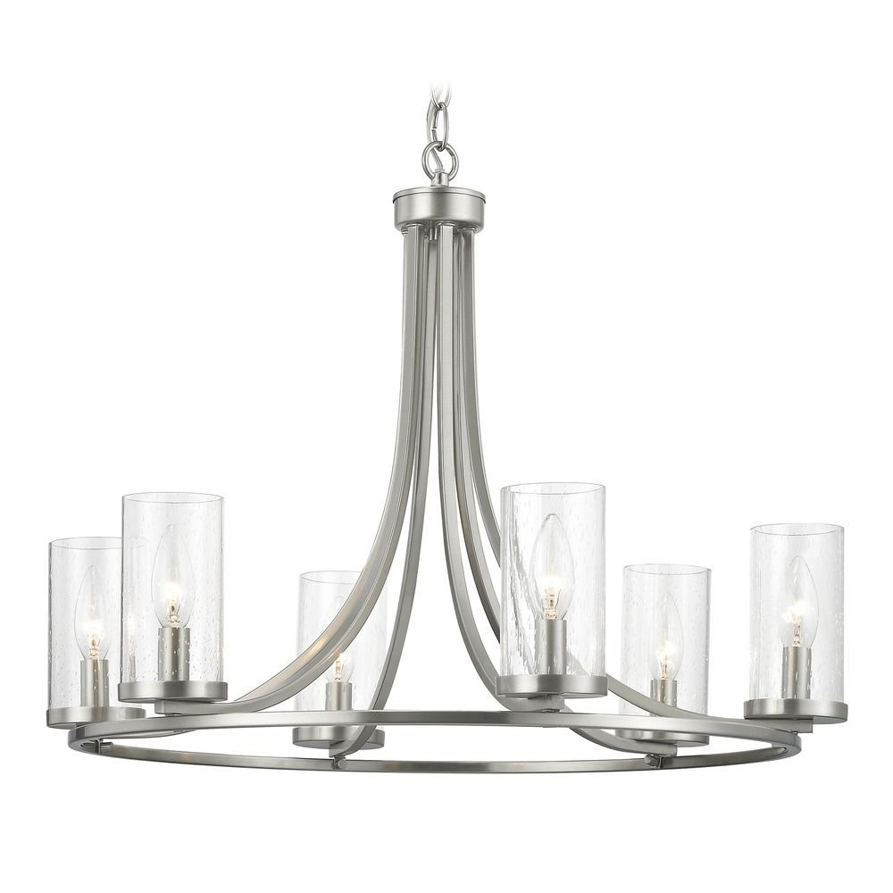 Seeded Glass Chandelier Satin Nickel 6 Lt At Destination Lighting In 2020 Glass Chandelier Brushed Nickel Light Fixtures Dining Chandelier