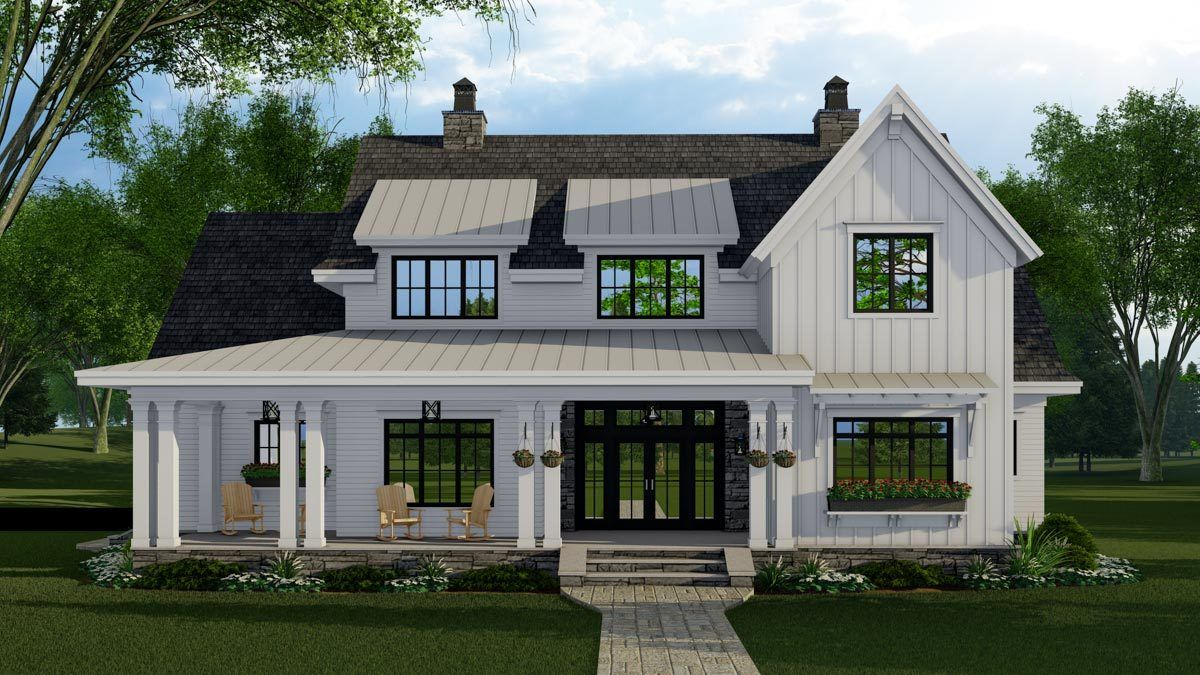 Plan 14683rk 4 Bed New American Farmhouse Plan With First Floor Master Modern Farmhouse Plans House Plans Farmhouse Country House Plans