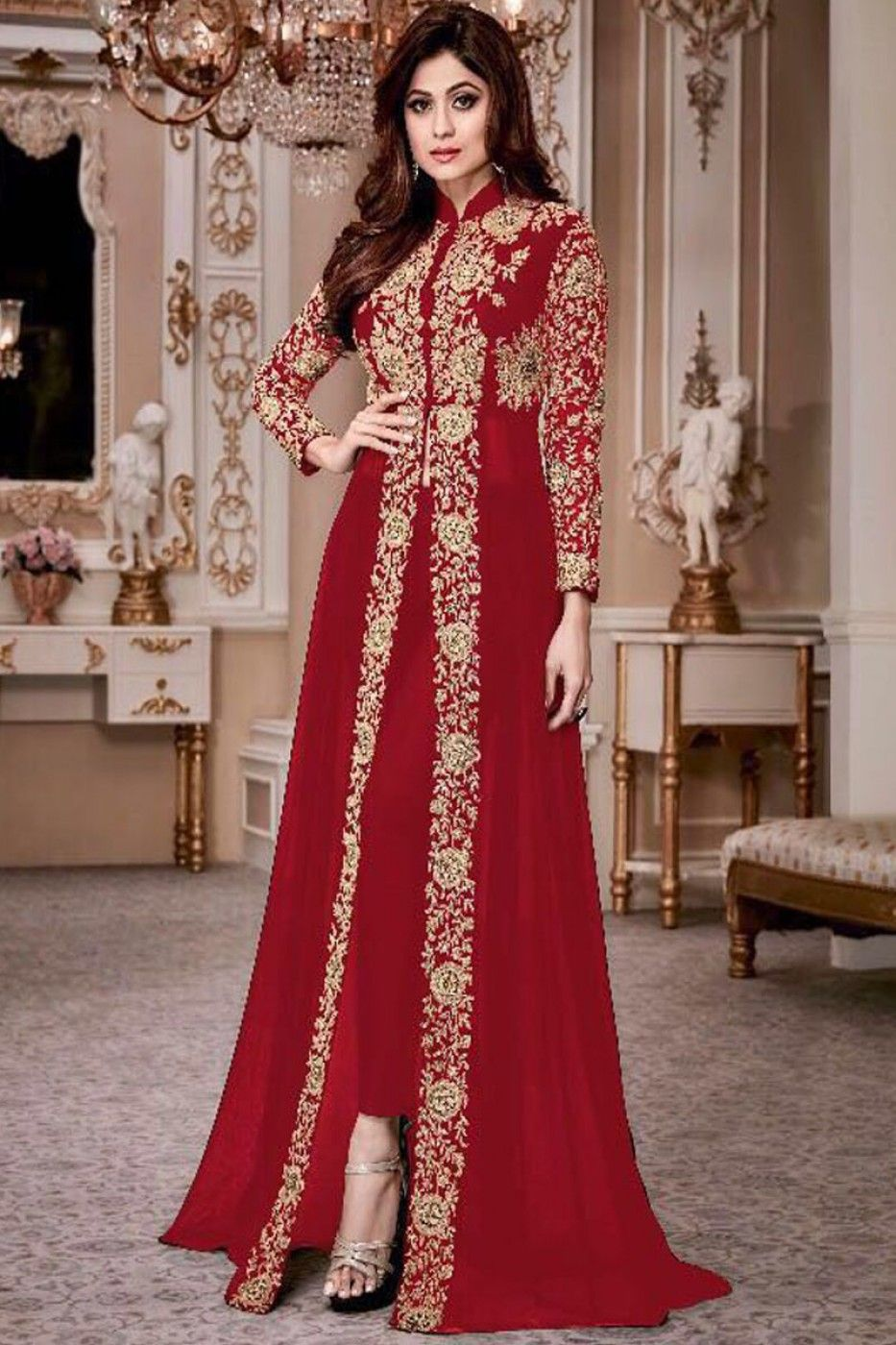 850f8371f09 Attractive Red Color Georgette Heavy Gold Embroidered Traditional Partywear  Pant Style Salwar Suit