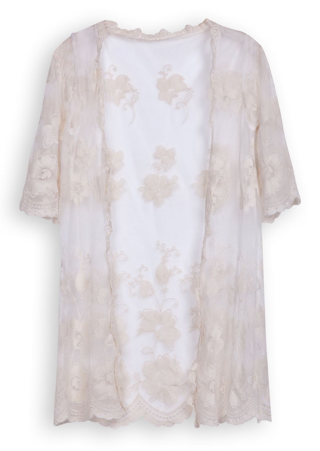 Beige Short Sleeve Hollow Embroidery Lace Cardigan - Sheinside.com ...
