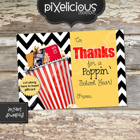 Thank you for a picture perfect year Teacher Thank You Card Teacher Appreciation Card teacher movie gift card holder INSTANT DOWNLOAD