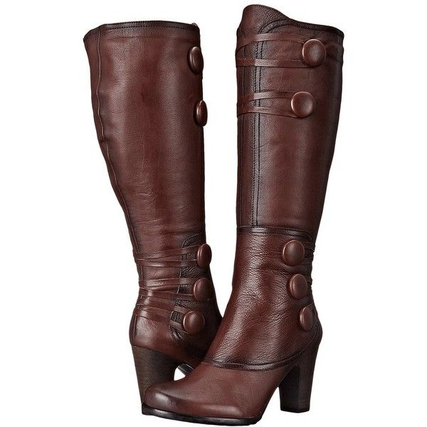 Miz Mooz Nicolette (Brown) Women's Zip Boots ($193) ❤ liked on Polyvore featuring shoes, boots, knee-high boots, knee boots, brown platform boots, chunky heel knee high boots, knee high heel boots and miz mooz boots