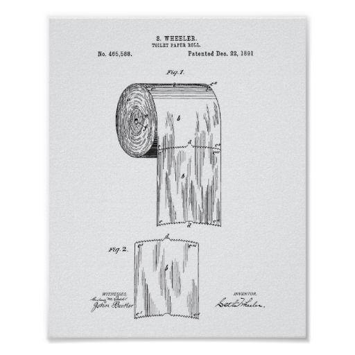 Toilet Paper Roll 1891 Patent Art White Paper Poster Zazzle Co Uk Toilet Paper Patent Print Toilet Paper Patent Patent Art Prints