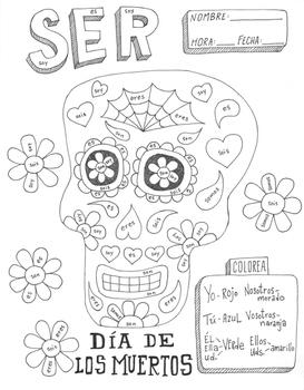 Dia De Los Muertos Color By Verb Conjugation Ser Day Of The