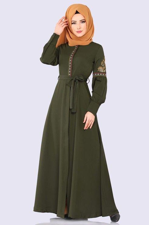 Modaselvim Ferace Nakis Detay Kemerli Ferace 8859w153 Haki Model Pakaian Muslim Gaun Gadis Kecil Model Pakaian
