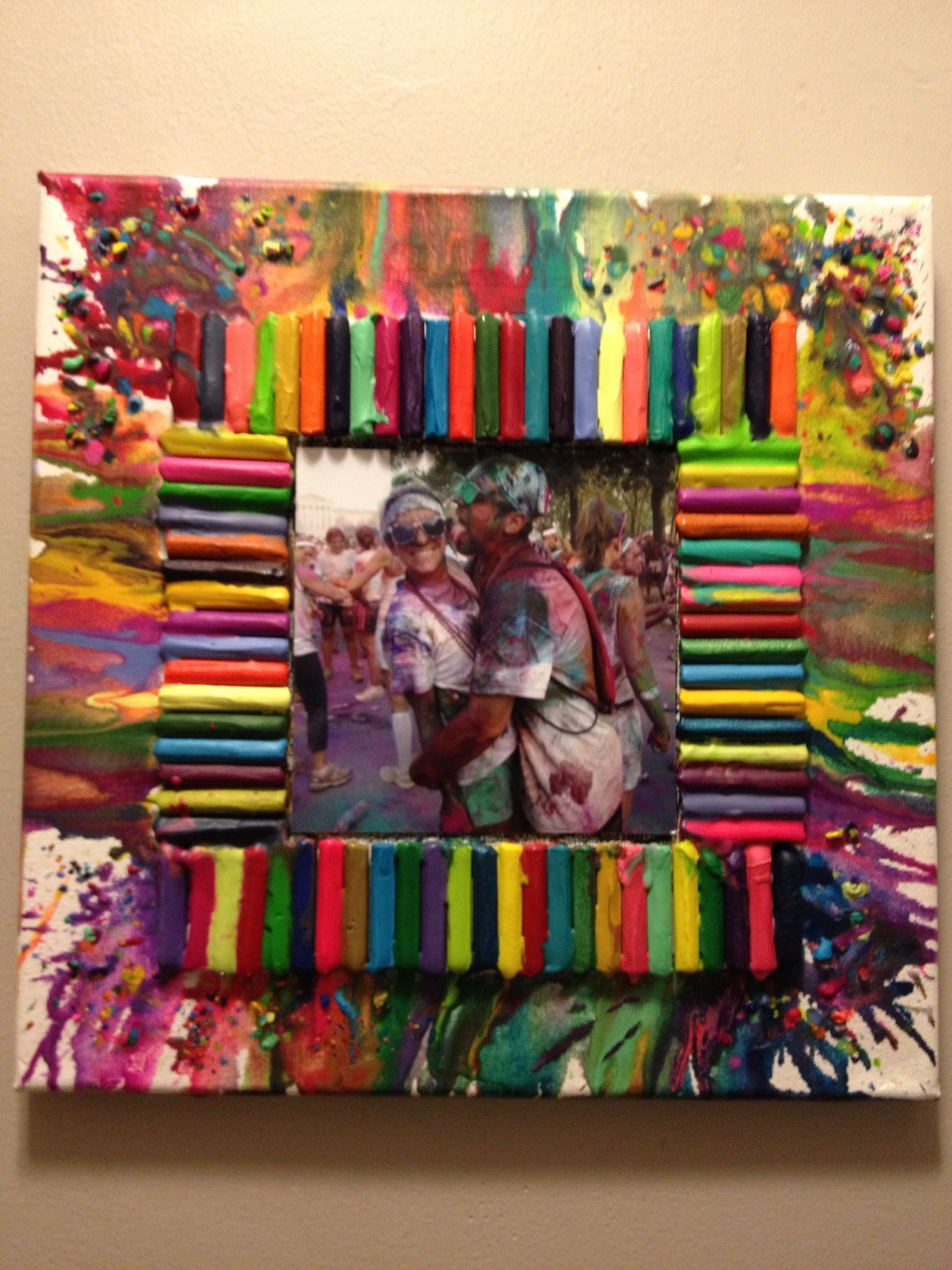 Melt Crayons On A Canvas To Create A Cool Frame