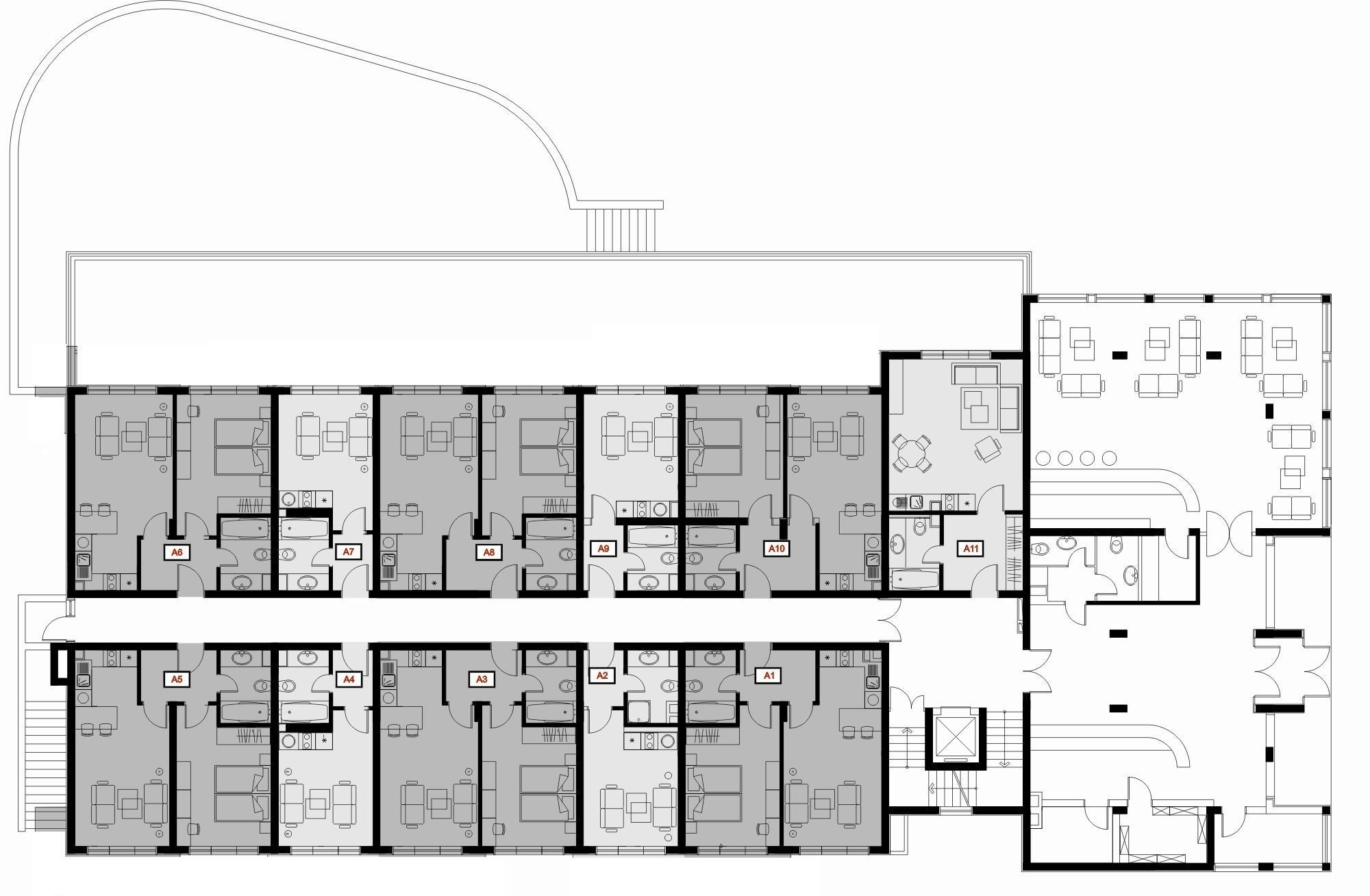 Typical boutique hotel lobby floor plan google 39 da ara for Hotel building design