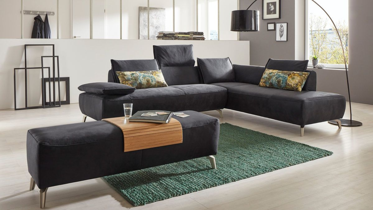 Sitzgarnitur wohnzimmer modern  Eckkombination mit Vintagelederbezug #wohnzimmer #furniture #home ...