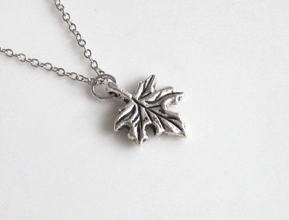 Maple Leaf Necklace Silver Boho Simple Minimalist by NinasBeadFun