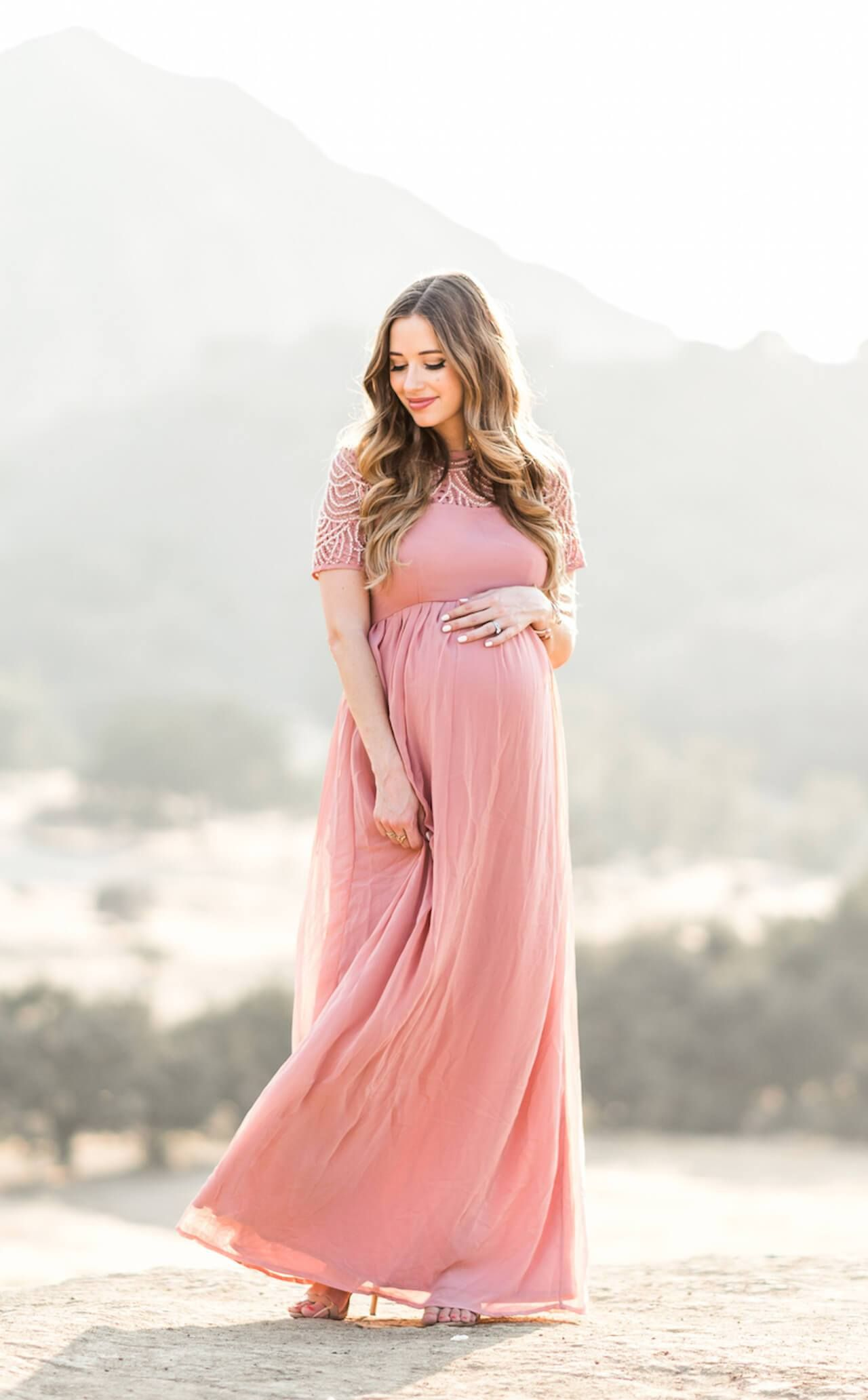 19b53aaf33 a flowy pink maternity maxi dress