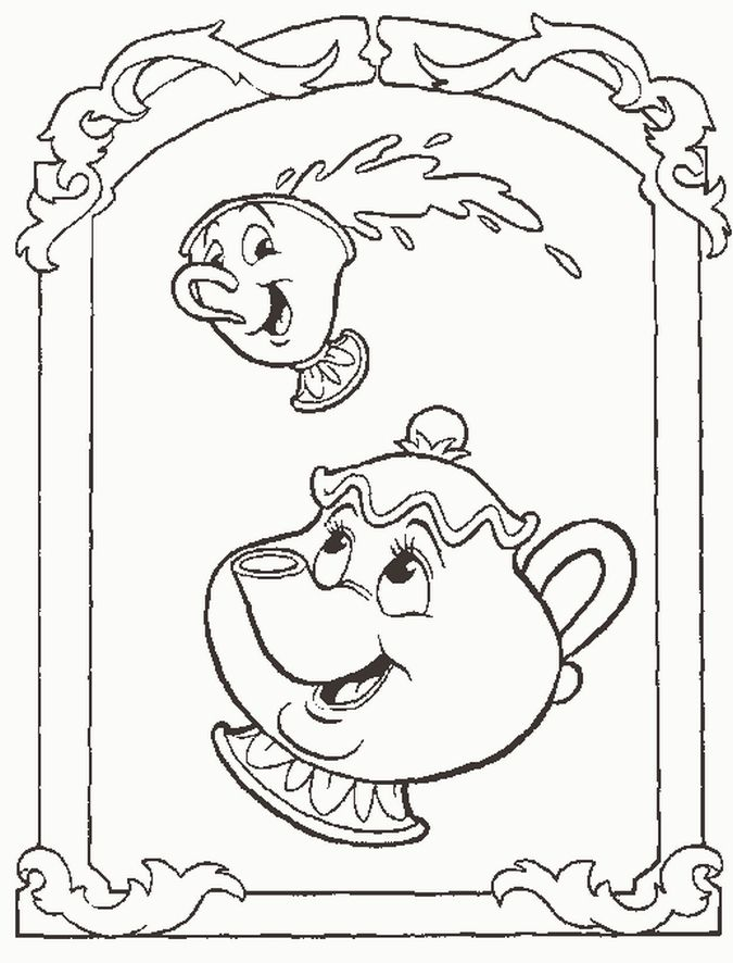 Beauty And Beast Coloring Pictures Disney Characters