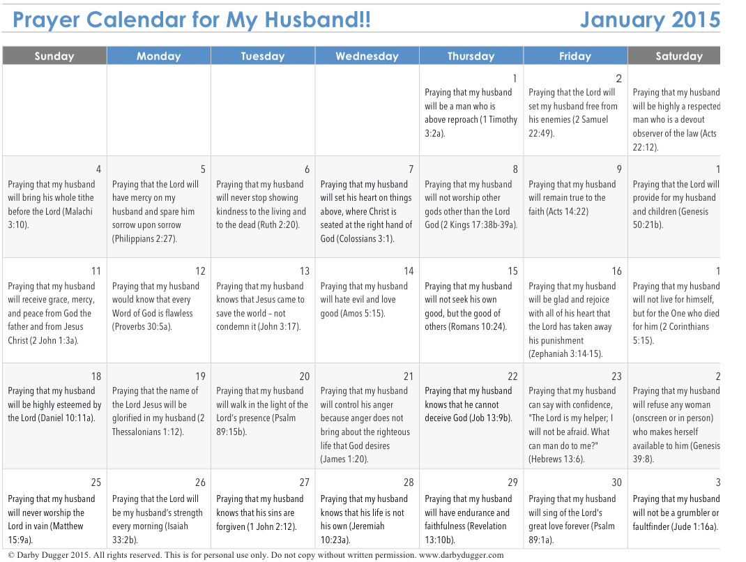 FREE printable prayer calendar for your husband when you