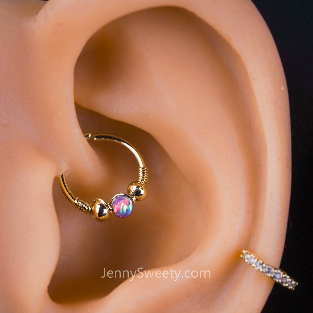 Piercing from nose to ear  Opal Daith Earrings Hoop Septum Ring  want  Pinterest  Rook