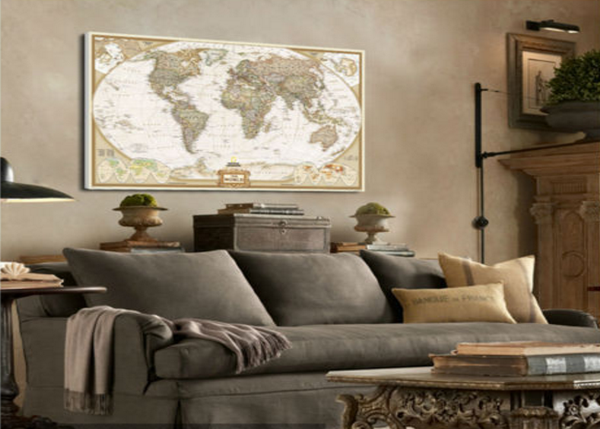 Own this amazing world map wall canvas today we will ship the canvas for free. This is the perfect center piece for your home. It is easy to assemble and hang the panels together which makes this a great gift for your love ones.  This painting is printed not handpainted and is ready to hang! We have 5 options for this canvas -- size 1: (30x50cm)  size 2: (40x60cm)  size 3: (50x70cm)  size 4: (60x90cm)  size 5: (70x100cm) Limited quantities left. www.octotreasures.com