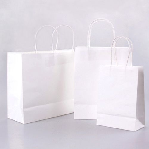 White Paper Bags With Twisted Handles By Paperbag Shoppingbag Ecofriendlybags Shopping Bag Design Booklet Design Layout Interesting Packaging Design