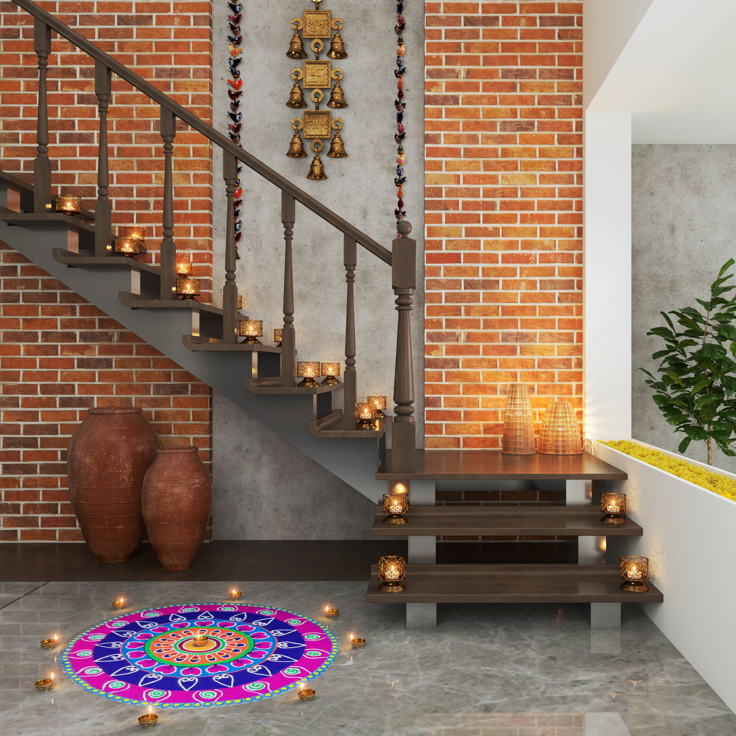 How Industrial Brick Walls Work For Indian Homes Love The | Duplex House Staircase Wall Design | Contemporary | Textured | Apartment Duplex | Fancy | Stair Wall Paint