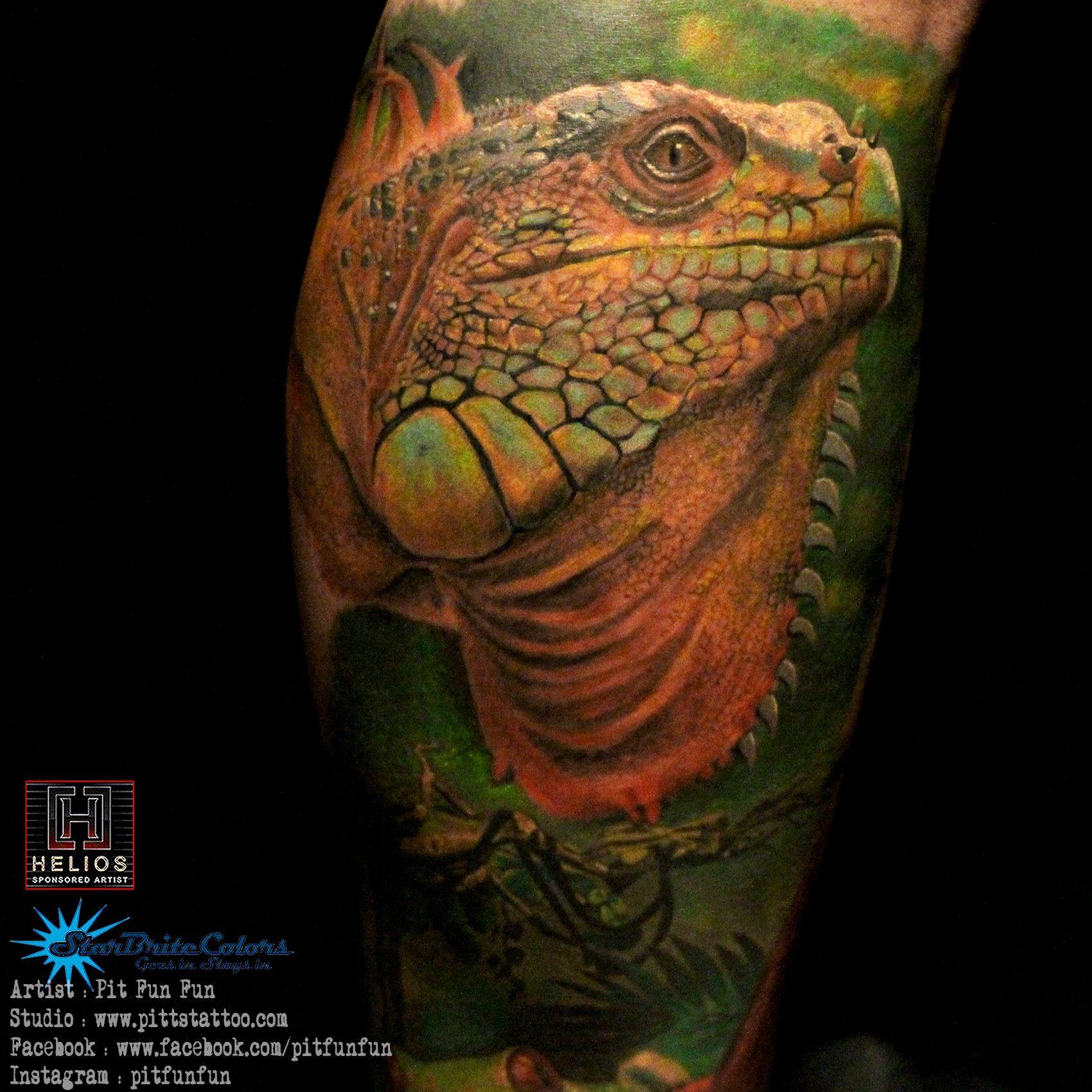 Closed Up Realistic Iguana Tattoo Done By Pit Fun Instagram Pitfunfun