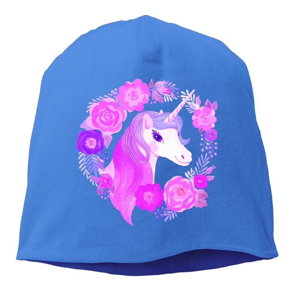 bb314091846 Magical Flower Unicorn Unisex Warm Winter Hat Knit Skull Beanie Slouchy  Beanie Hat Cap RoyalBlue