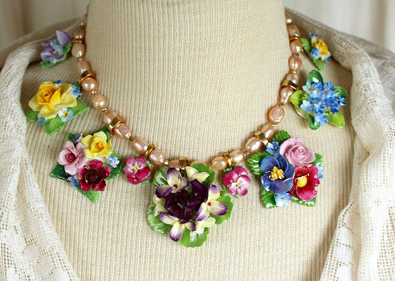 Bone China Rose Assemblage Necklace porcelain vintage multicolor flowers, brooches pins choker, jewelry, up cycled, repurposed, recycled #jewellery  #giftsforher #broochespins #ad