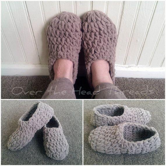 Puff Slippers Easy Beginner Chunky Knitting Pattern