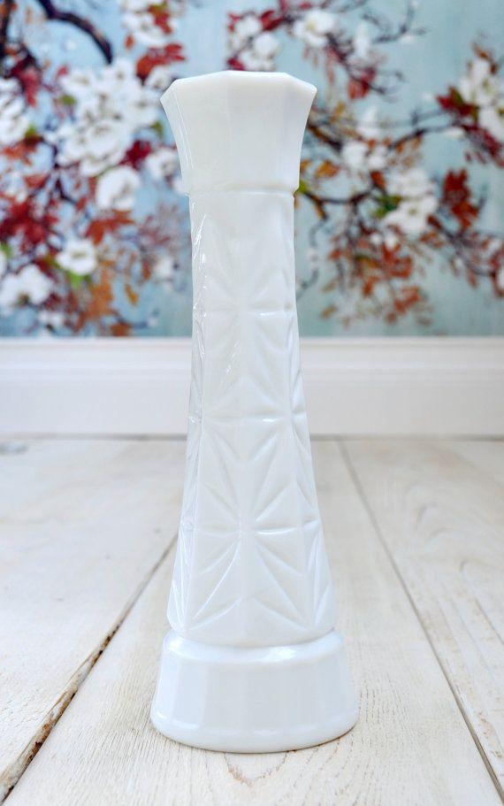 Milk Glass Vase Vintage by Janessaquoi on Etsy, $10.00