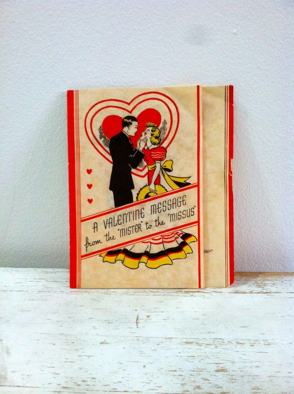 Vintage Mr. & Mrs. Valentine's Day Card 1930's