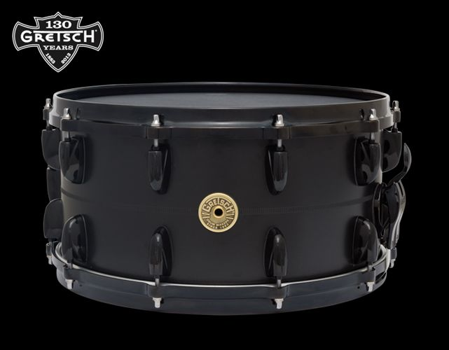 """Gretsch USA Custom 130th Anniversary Snare • Flat Black Solid Aluminium • 14""""x7"""" (20 lugs) • Specifications: Limited to 30 drums ; SD: Lightning Throw-off ; G5412MT 42-Stand Snare Wire"""