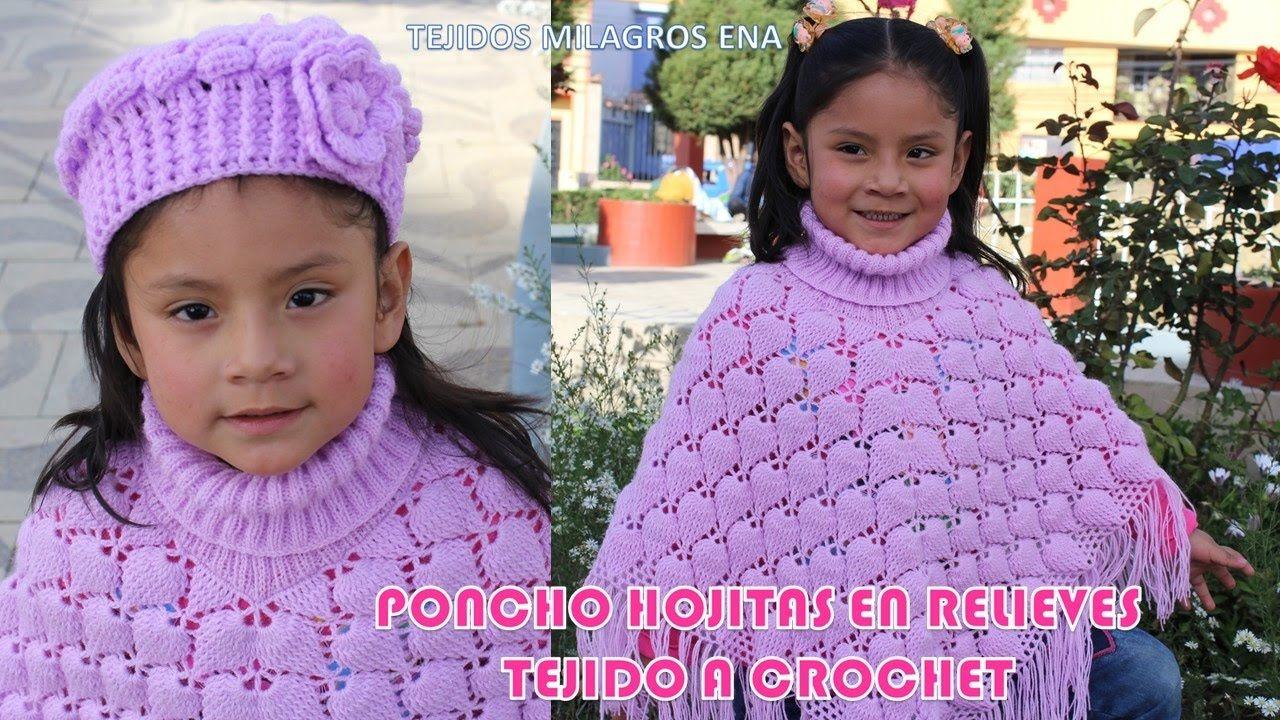 Poncho Hojitas en Relieves PARTE 2 tejido a crochet con indicaciones par. f16d5f84de8