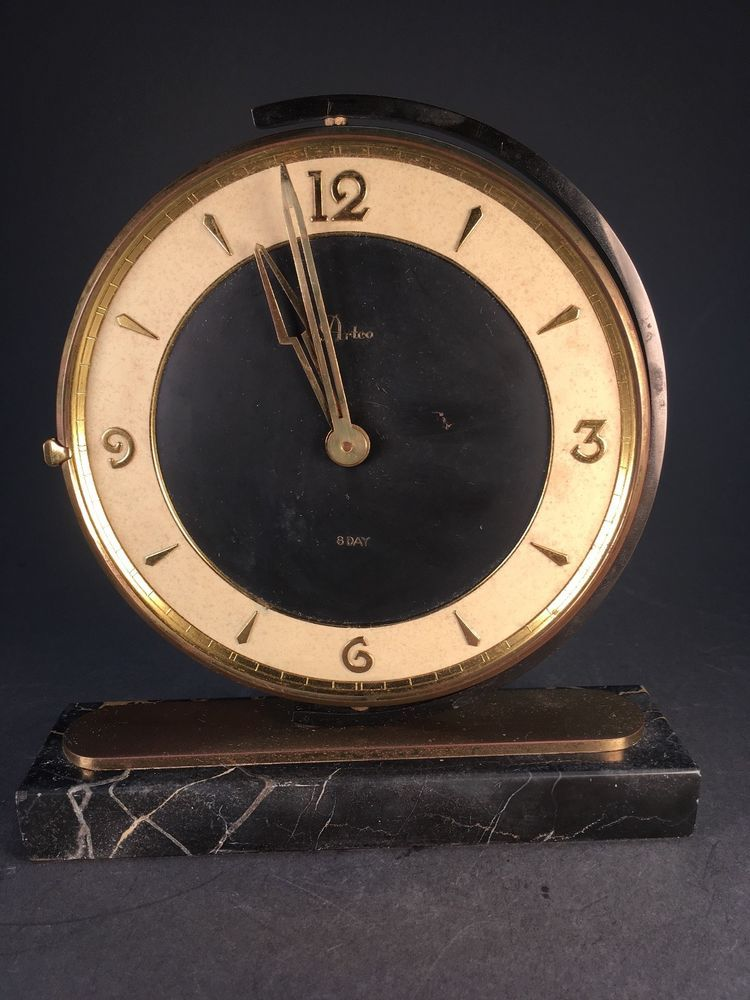 Gorgeous ArtCo ART DECO Brass Clock Marble Base 8 Day Outstanding Example