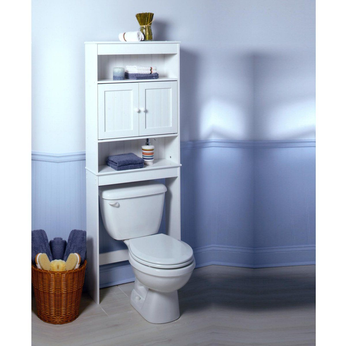 nassau louvered space saver is the solution for a shortage of storage space in your bathroom designed to fit over the toilet tank this cabinet takes