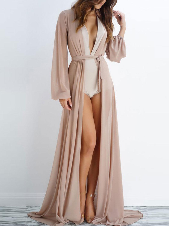 5ba4820980 Nude Sheer Mesh Tie Waist Open Front Maxi Beach Kimono   CHOIES ...