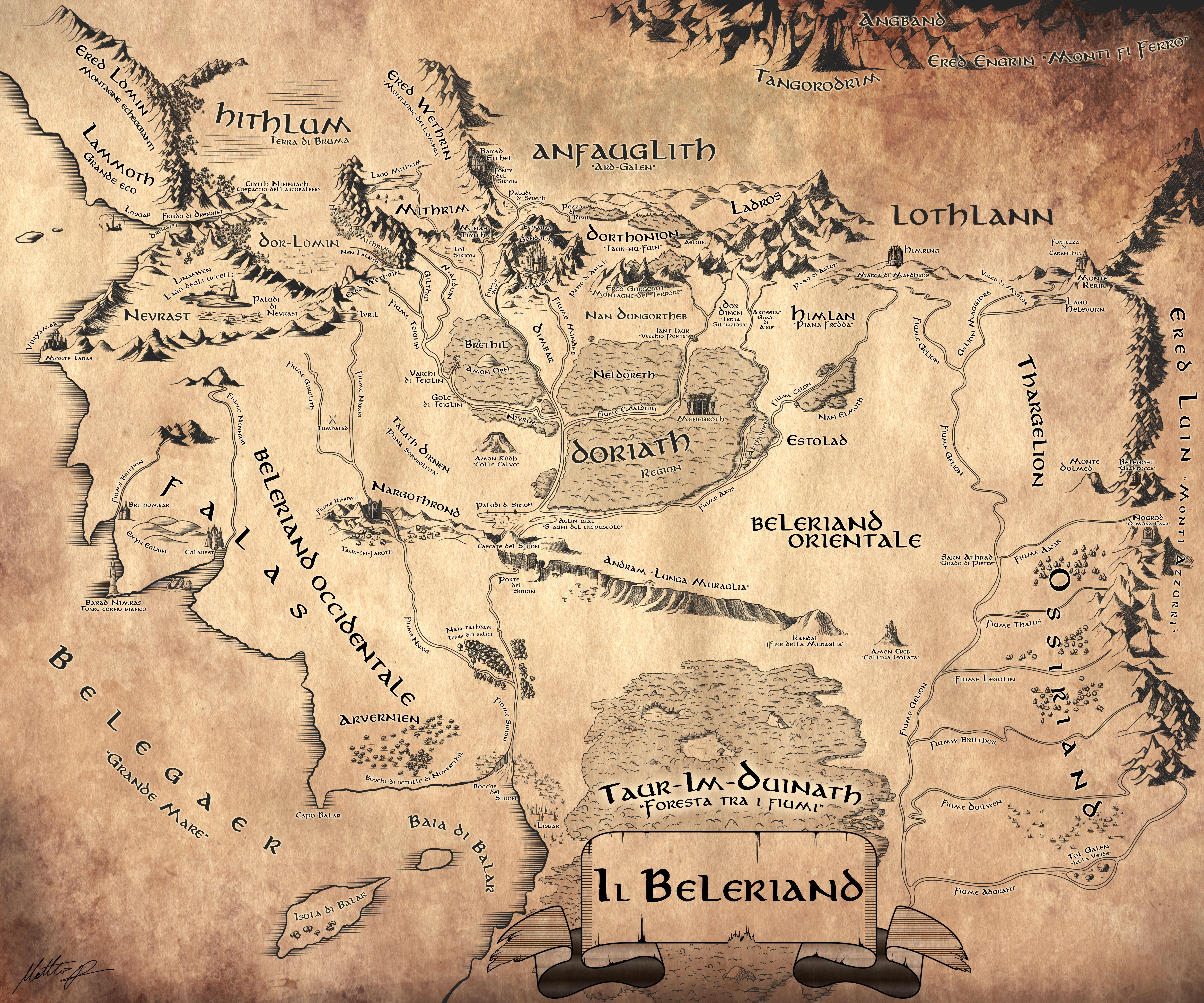 Beleriand Map By Lamaarcana El Senor De Los Anillos Mapa De