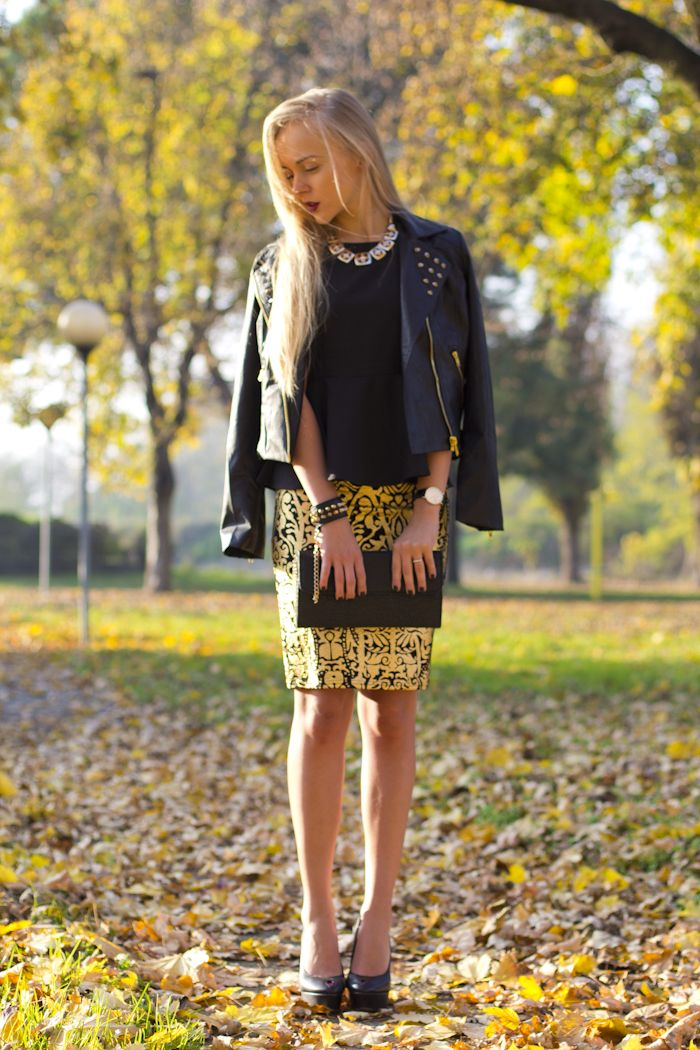 brocade skirt 2017 with studded leather jacket