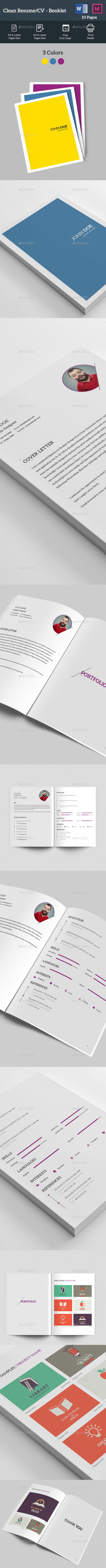 Clean Resume   CV InDesign Booklet Template U2022 Only Available Here ➝  Http://graphicriver.net/item/clean Resume Cv Booklet/16697050?refu003dpxcr