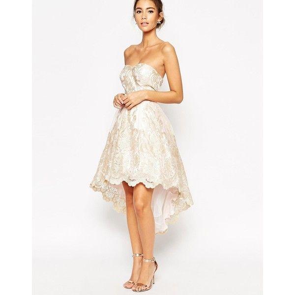 Chi Chi London Premium Metallic Lace Bandeau High Low Mini Prom ...