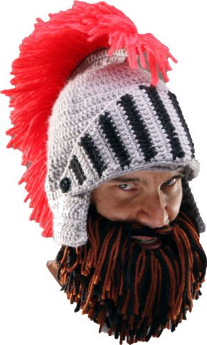 79721a10cbe Beard Head - Barbarian Knight - Knitted Brown   Black Beard + Knight s  Helmet
