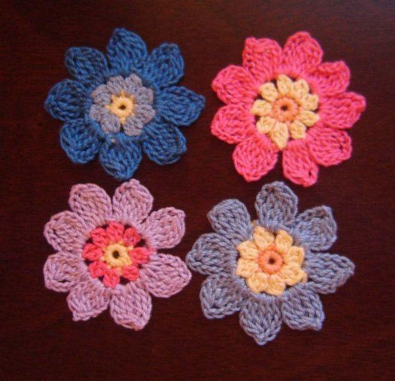Pdf Instant Download Crochet Pattern No 016 3 Colors Flowers
