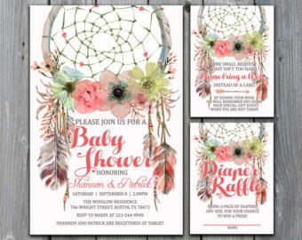Dreamcatcher Baby Shower Invitation Tribal by PaperFoxStudios