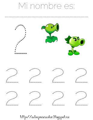 PLANTAS contra ZOMBIS, Hojas de trabajo con números del 1 al 9 ...