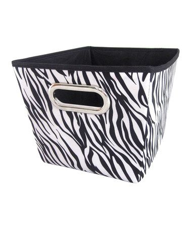 Take a look at this Black & White Zebra Medium Storage Bin by home basics on #zulily today!
