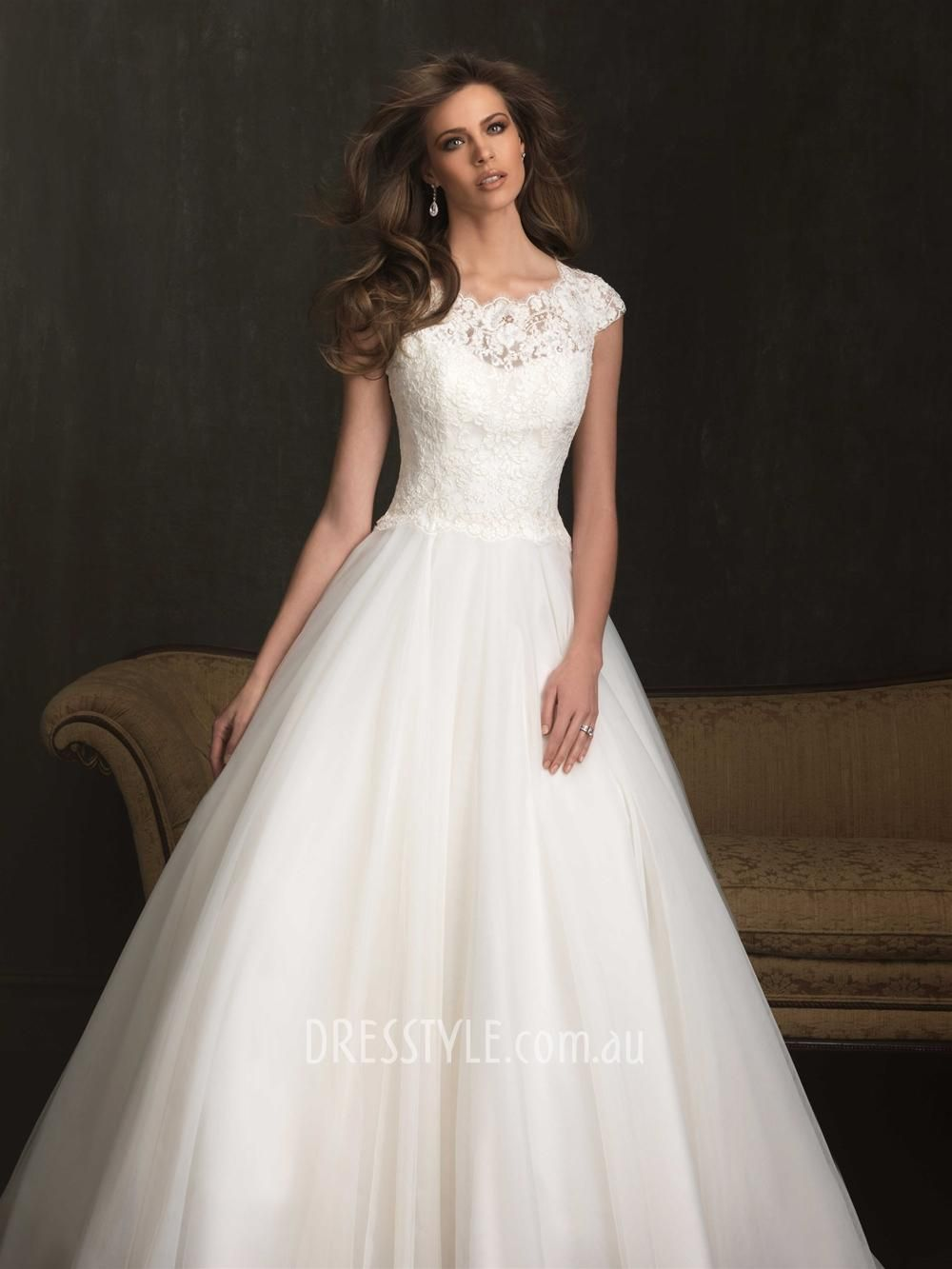 capped sleeve wedding dresses   ... Gown Scoop Neck Cap Sleeve Lace ...
