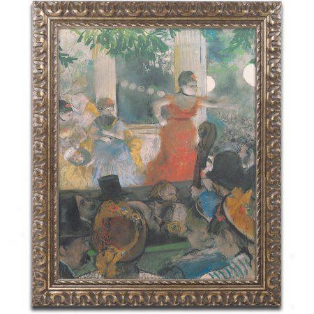 Trademark Fine Art Concert at Les Ambassadeurs 1876 inch Canvas Art by Edgar Degas, Gold Ornate Frame, Size: 16 x 20