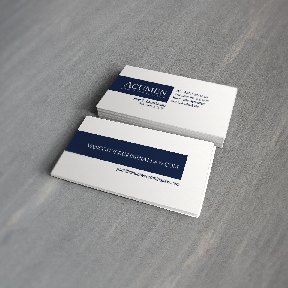 Business card design for criminal law firm in Vancouver. Read more ...