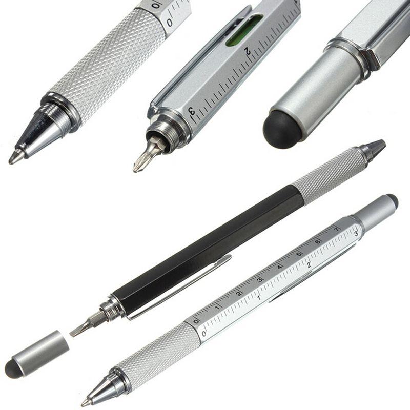 Builders DIY Multi Tool Pen Biro Spirit Level Screwdriver s Ruler Stylus Marker