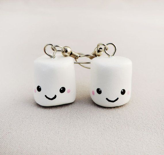 f76825c0b77a2 Kawaii Smiling White Marshmallow Earrings Polymer Clay Jewelry ...