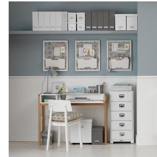 Wohnideen Arbeitszimmer Home Office Büro - Ente-Ei und weißes Büro ...