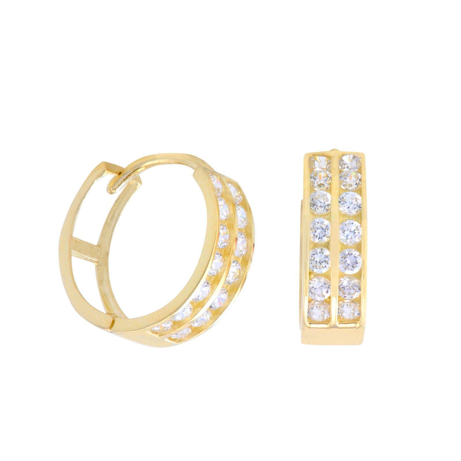 Small Diamond Hoop Earrings Yellow Gold Phenomenal Earrings Pearl