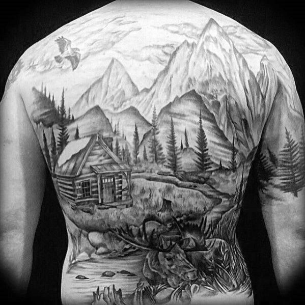 5ee12d644 40 Log Cabin Tattoo Designs For Men - Dwelling Ink Ideas | Tattoos ...