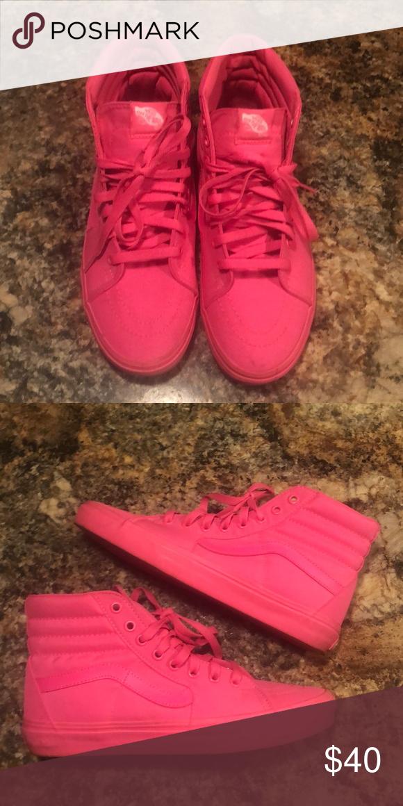 6bd8e8901c Neon Pink Hi-Top Vans Hot neon pink hi top vans! True to size